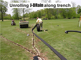 J-Drain Installed on a Golf Course