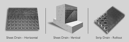 Photo of different drainage applications for the j-drain products
